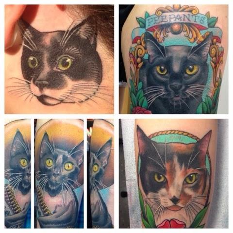 Cat Portrait Tattoos by Megon Shore
