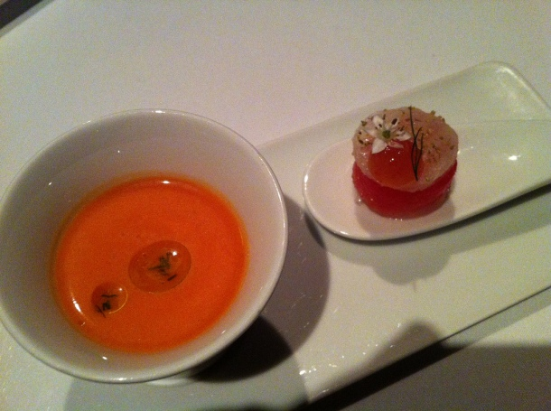 Tomato Gazpacho and Compressed Watermelon from Canlis