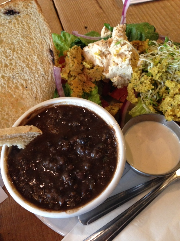 Black Bean Soup! Falafel salad! Tahini! Oh my!