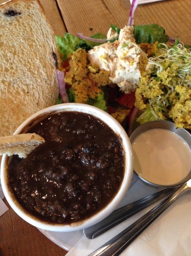 Black Bean Soup! Falafel salad! Tahini! Oh my!