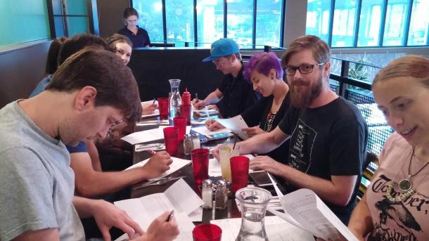 NARN Letter Writing Party Attendees at Wayward Vegan Cafe